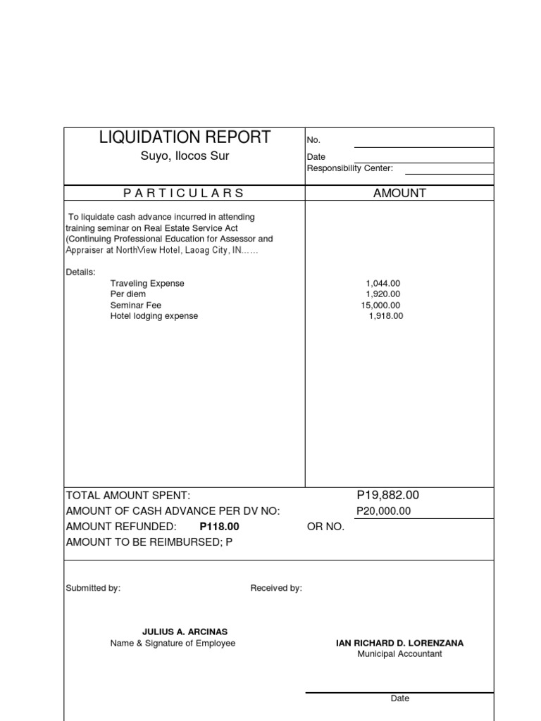 Liquidation Report Example 1  Example Expense Report