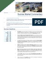 KBC Morning Sunrise Market Commentary 09-02-2011