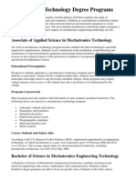 Mechatronics Technology Degree Programs