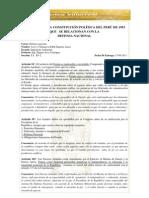 ARTÍCULO DE LA CONSTITUCIÓN POLÍTICA DEL PERÚ DE 1993 QUE   SE RELACIONAN CON LA  DEFENSA NACIONAL