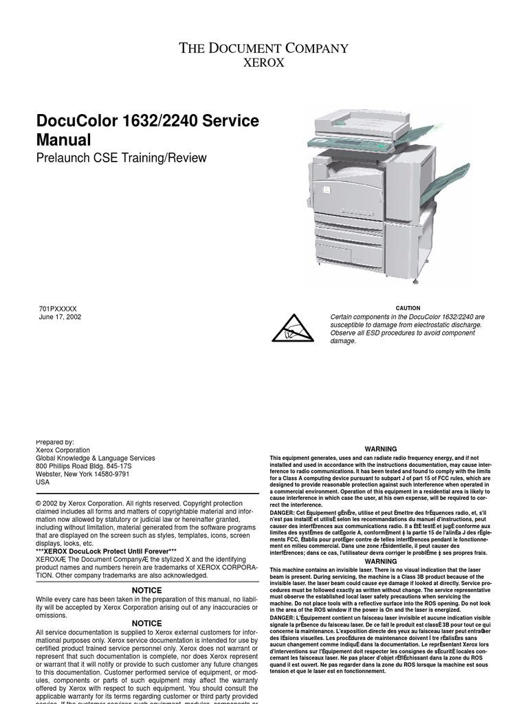 xerox docucolor 1632 2240 service manual electrostatic discharge rh es scribd com xerox docucolor 1632 service manual DocuColor 260