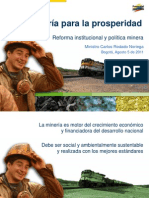 Reforma Sector Minero Presentacion Ministro Minas Agosto 5 2011