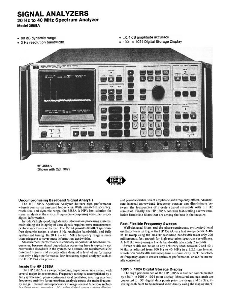 Hp 3585a Datasheet Bandwidth Signal Processing Decibel 10 Mhz Variable Frequency Oscillator Signalprocessing Circuit