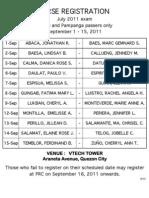 PRC Initial Registration Schedule for July 2011 Nursing Board Exam Passers (Metro Manila and Pampanga)