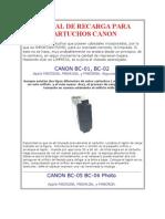 Manual de Recarga Para Cartuchos Canon