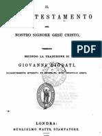 Il Nuovo Testamento del nostro Signore Gesù Cristo. Versione secondo la traduzione di Giovanni Diodati. 1862
