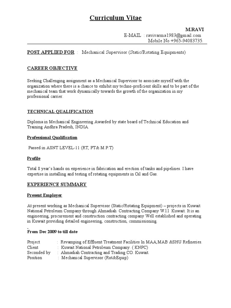 cv for mechanical supervisor petroleum gas compressor - Contract Mechanical Engineer Sample Resume