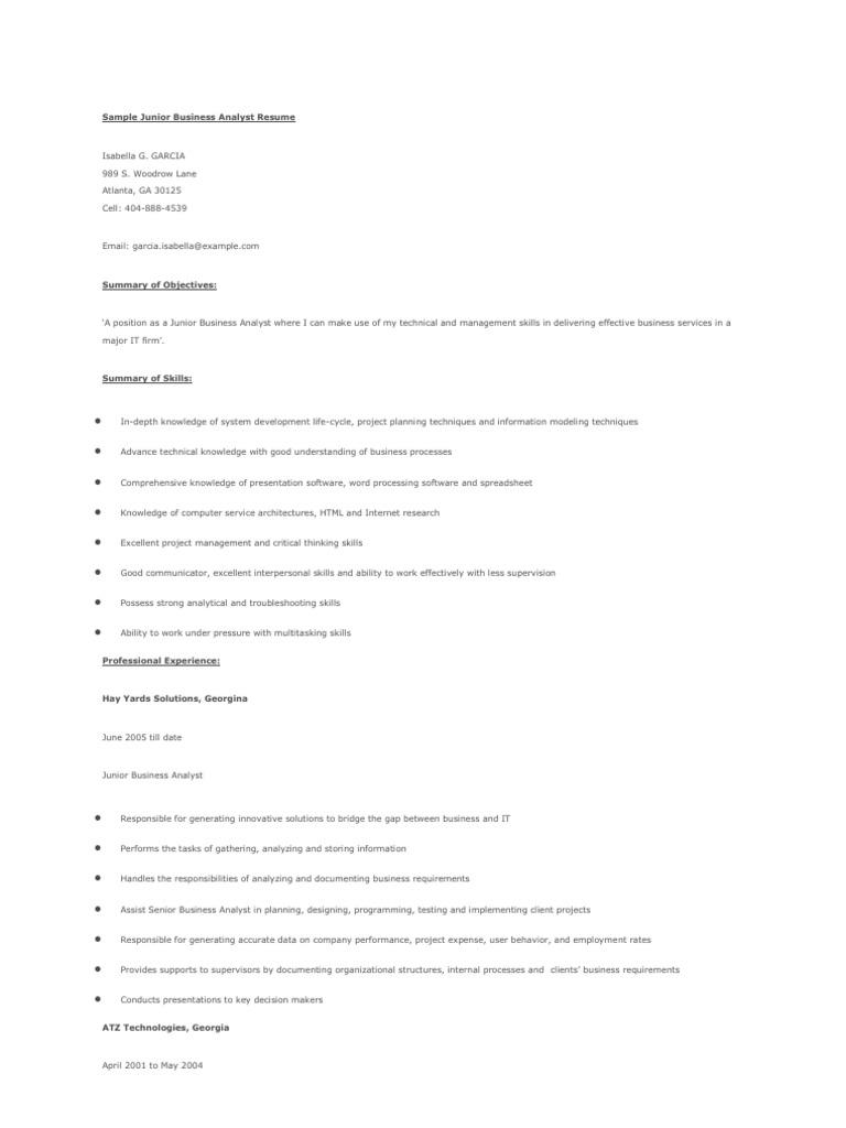 sample junior business analyst resume