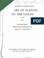Geminiani - Arte Di Suonare Il Violino - 1751 - Facsimile