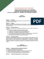 Criterios Microbiologicos de Calidad Sanitaria e Inocuidad Para Alimentos