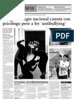 Ningún colegio nacional cuenta con psicólogo pese a ley antibullying