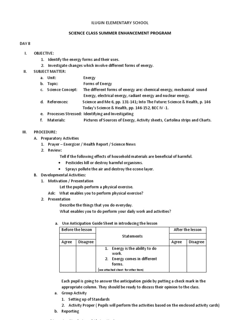 Lesson Plan in Science 6 - Forms of Energy and Their Uses. | Forms ...