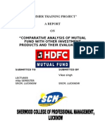 HDFC Final reportCOMPARATIVE ANALYSIS OF MUTUAL FUND WITH OTHER INVESTMENT PRODUCTS AND THEIR EVALUATIONS""
