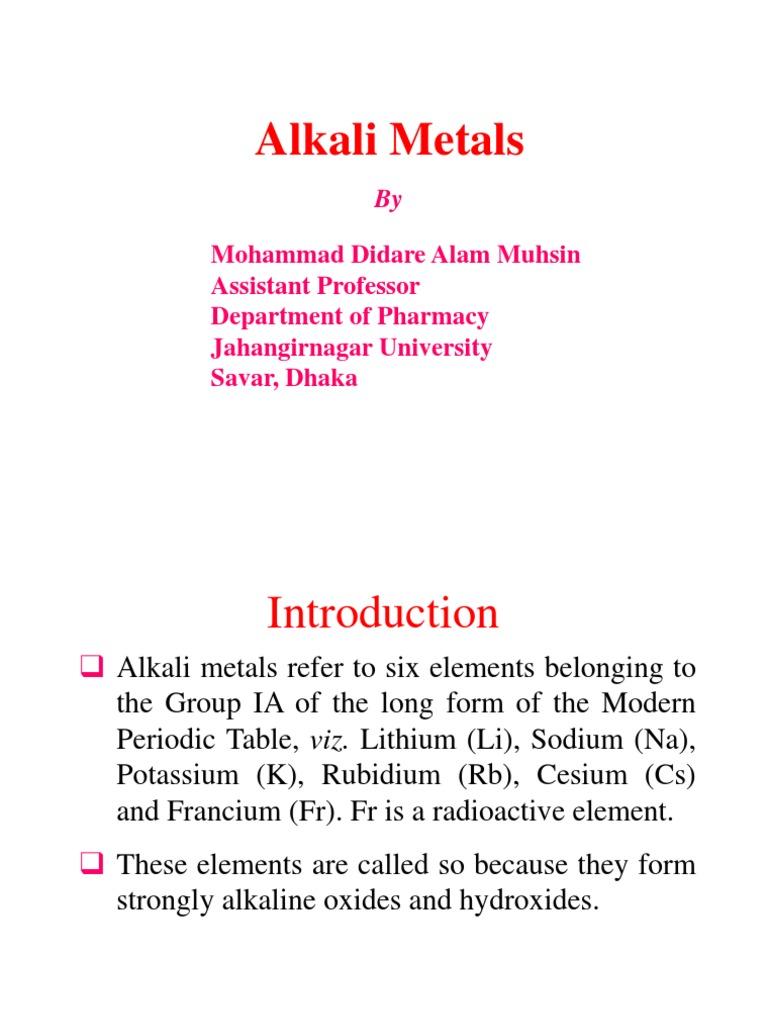 Alkali metals lithium potassium urtaz Choice Image