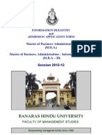 FMS-BHU Information Bulletin & Admission Application Form 2012-13