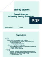 Recent Changes in Stability Guidelines