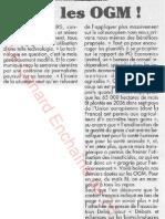 Le Canard enchainé - 2007.04.25 - Exemple de lobbying caché des fabricants d'OGM (Monsanto, BASF, Syngenta et autres)