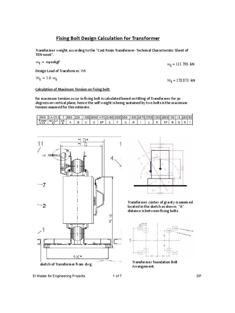 Fixing Bolt Design Calculation for Transformer | Screw | Strength Of