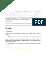 Nouvelles Definitions en sciences de Management