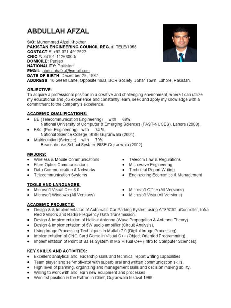 Fresh Telecom Engineer Cv