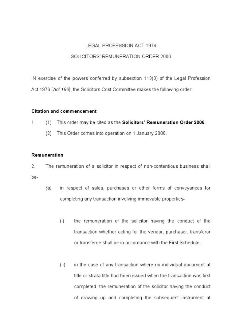 Solicitors Remuneration Order 2006 Lease Leasehold Estate