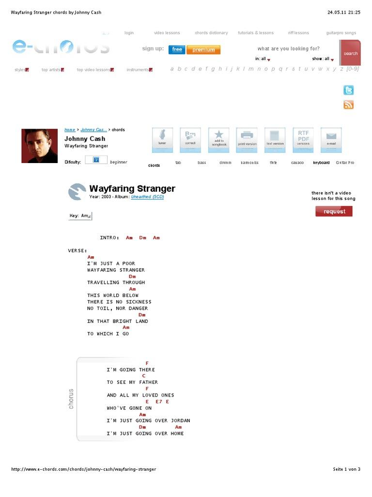 Guitar besame mucho guitar chords and lyrics : Wayfaring Stranger Chords by Johnny Cash