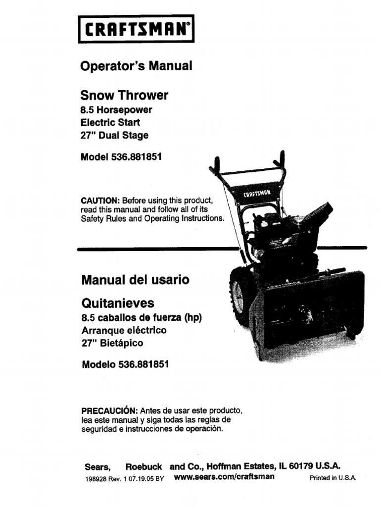 Craftsman Snow Thrower Parts Manual : Craftsman hp snow blower manual
