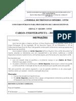 Prova UFTM 2009 12 Fisioterapeuta Hospitalar