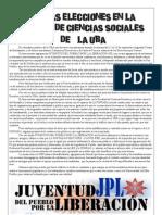 JUVENTUD LIBERACIÓN ANTE LAS ELECCIONES EN SOCIALES