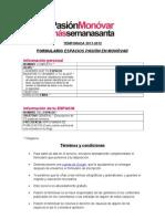 FORMULARIO ESPACIOS PASIÓN EN MONÓVAR 2011-2012