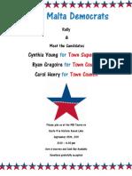 Town of Malta Democrats Fundraising event invite
