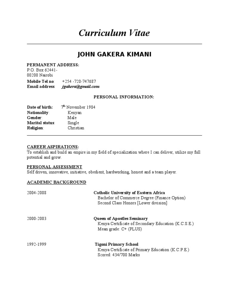 Gakera Cv Original Kenya Management Accounting