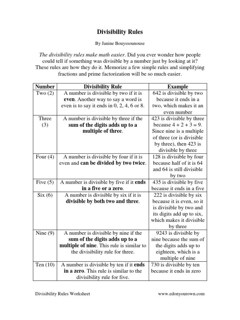 divisibility rules worksheet v