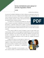 Algunos Criterios Orient Adores Para Apoyar El Desarrollo Lingüístico Infantil