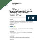 Communication 340 Vol 25 1 Jean Lohisse La Communication de La Transmission a La Relation Deuxieme Edition Revue Et Augmentee Par Annabelle Klein