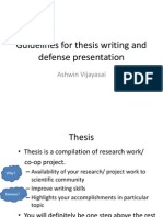 Guidelines for Thesis Writing and Defense Presentation
