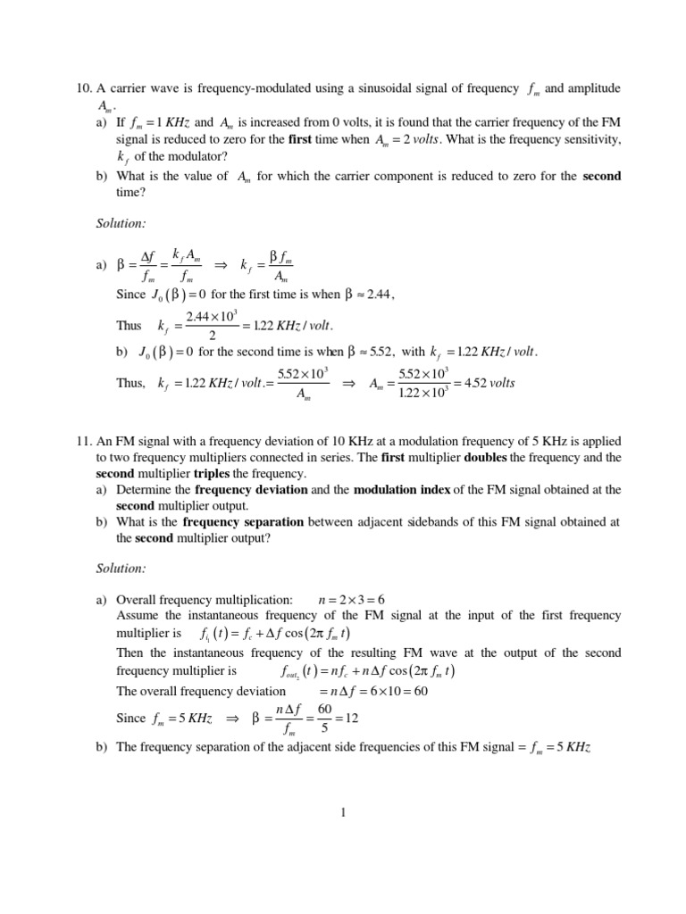 Problems From Old Tests Ii Frequency Modulation Wireless Multiplication