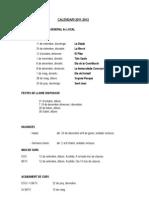 Calendari General Curs 2011-2012
