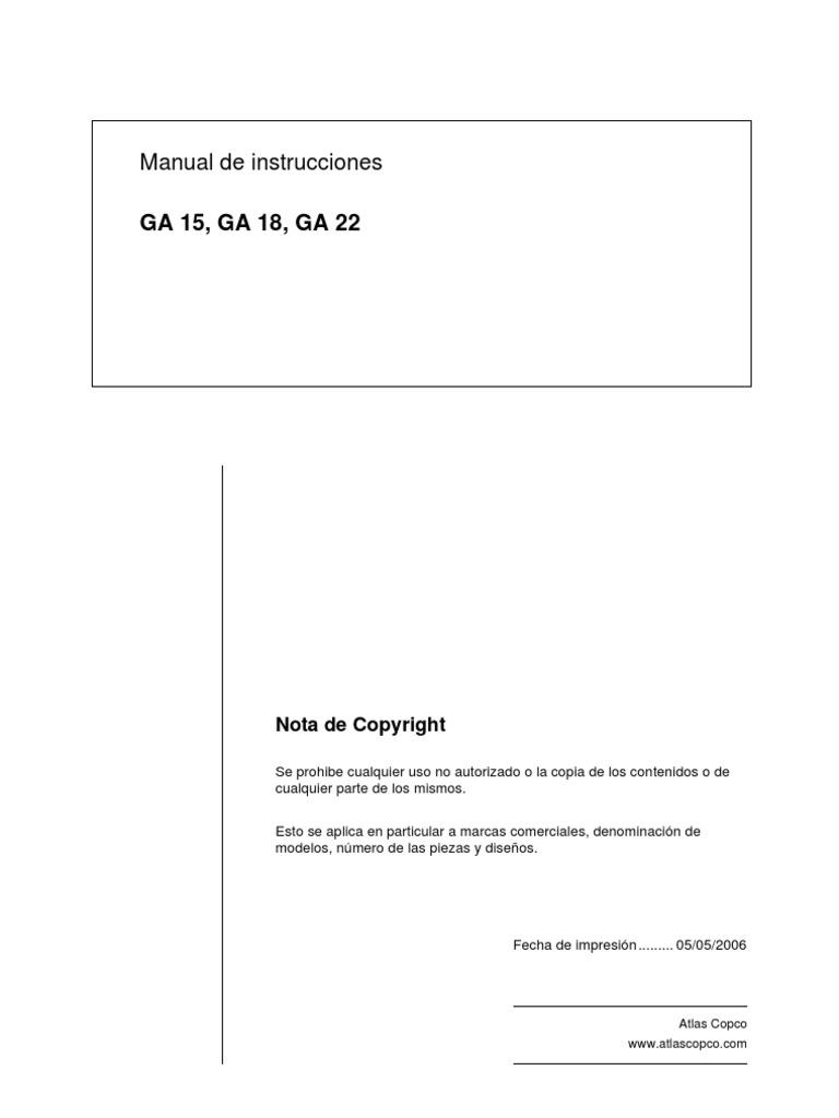 manual compresor atlas copco nuevo rh es scribd com GA22 Atlas Copco Compressors Manuals Atlas Copco GA22 Manual