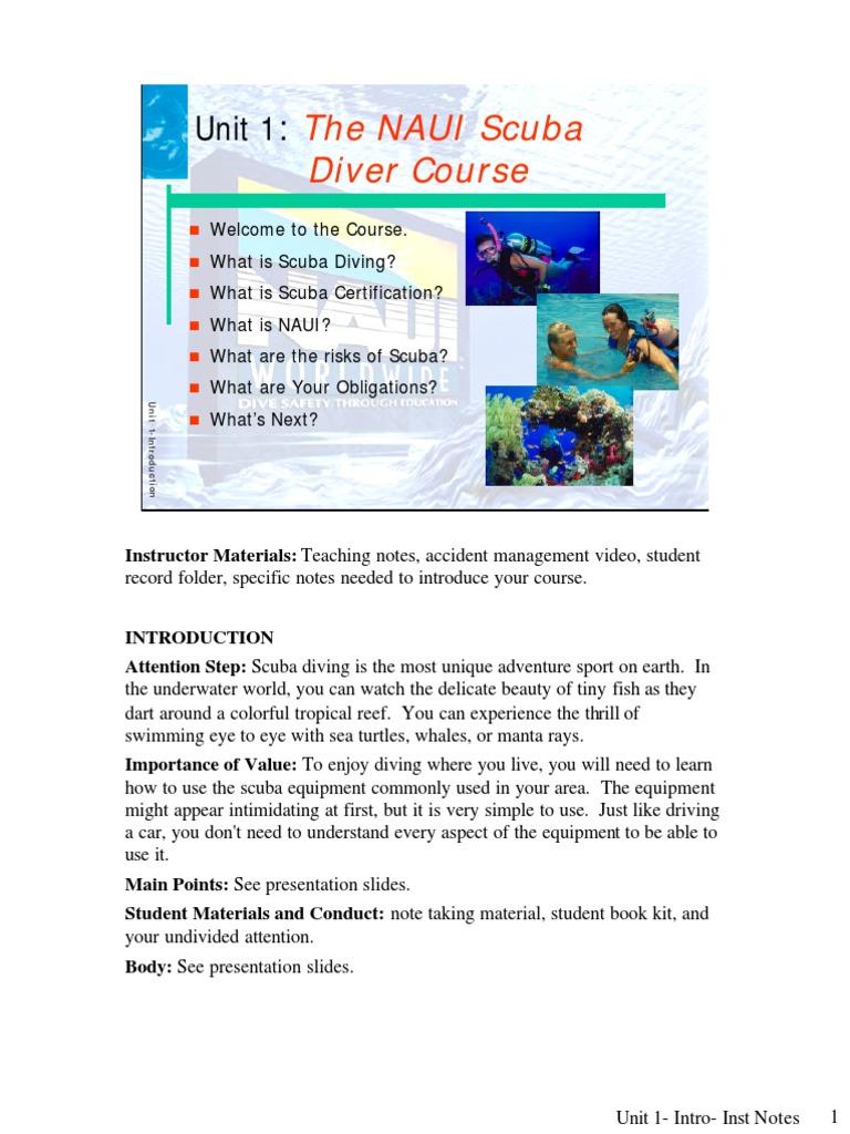 The Naui Scuba Diver Course Unit 1 Intro Scuba Diving