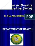 Programs and Projects at National Setting