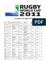 UK Rugby World Cup Television Schedule