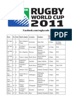 Australian Rugby World Cup Television Schedule