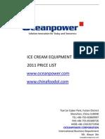Ocean Power Ice Cream Equipment Price List 2011