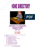 universtiy of hyderabad Telephones Directory