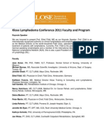 Klose Lymph Edema Conference 2011 Faculty and Program