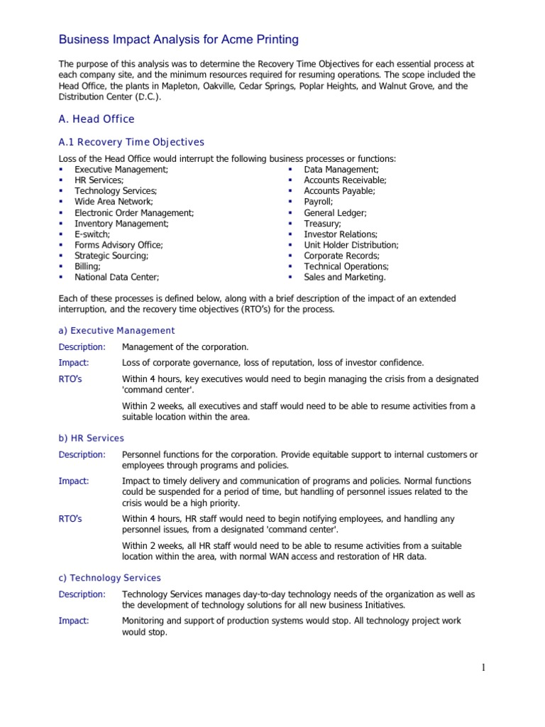 Sample Business Impact Analysis Invoice Call Centre