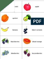 Fruit, Berries, Vegetables and Mushroom Flashcards