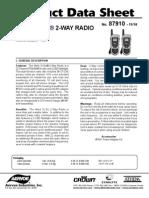 Wind N Go 2 way Radio Product Data Sheet