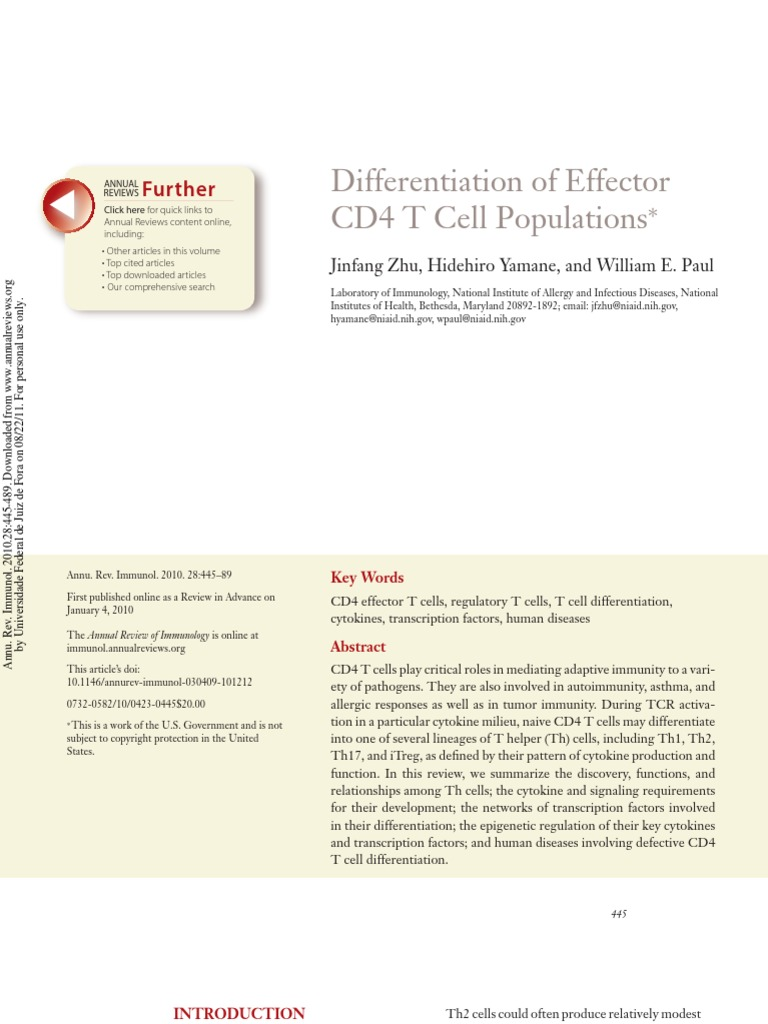 Differentiation Of Effector Cd4 T Cell Populations Helper Fascience Chapter 19 Bacteria Interleukin 12
